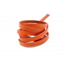 1m Cuir plat largeur 6mm de couleur orange - CUIR VERITABLE - 6mm x 1,8mm