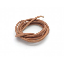 Cordon cuir 4mm de couleur marron naturel
