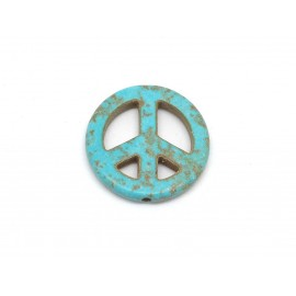"2 perles Peace and love 25mm en pierre naturelle imitation turquoise ""Howlite"" 25mm bleu turquoise"
