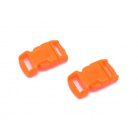 2 Fermoirs clip bracelet paracorde, sac, couture 15mm x 29mm en plastique orange fluo
