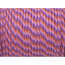 2m paracorde 3mm cordon nylon tressé corde nylon gainé rose parme orange