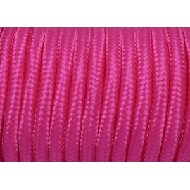 Cordon tressé polyester 5mm souple brillant satiné rose vif fluo