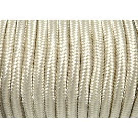 Cordon tressé polyester 5mm souple brillant satiné beige ivoire