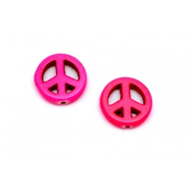 "R-5 perles Peace and love 15mm synthétique imitation turquoise ""Howlite"" rose fluo"