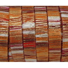 75cm Lanière en velours 10mm multicolore rayé orange, rouille et doré style bollywood