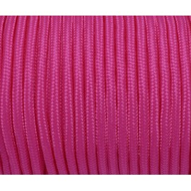 2m paracorde 3mm cordon nylon tressé, gainé rose vif