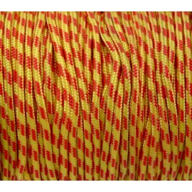 2m paracorde 3mm cordon nylon tressé, gainé jaune et rouge