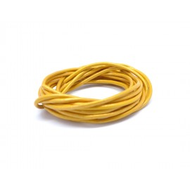 Cordon cuir rond 2mm jaune curry, moutarde métallisé