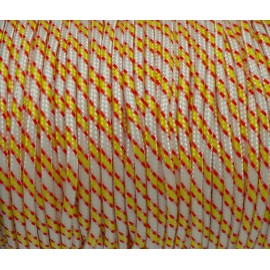 2m paracorde 3mm cordon nylon tressé blanc, rouge, jaune