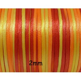 5m Cordon satin 2mm orange dégradé satiné brillant - cordon queue de rat