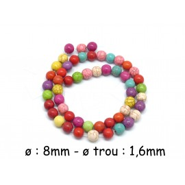 "48 perles ronde 8mm imitation ""Howlite"" multicolore, coloris assorties"