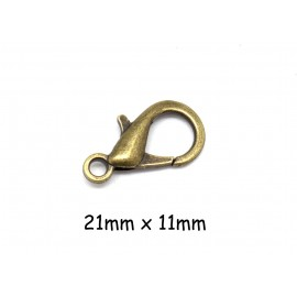 5 Fermoirs mousqueton bronze en métal 21mm x 11mm