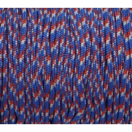 paracorde 2mm bleu blanc rouge cordon nylon tressé, gainé