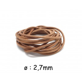 1m Cordon cuir 2,7mm de couleur marron naturel clair