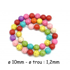 "R-39 perles ronde 10mm imitation ""Howlite"" multicolore, coloris assorties"