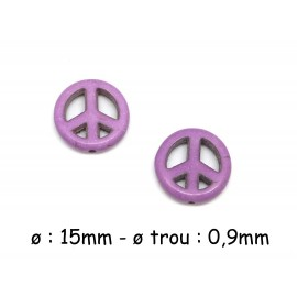 "5 perles Peace and love imitation ""Howlite"" de couleur violet 15mm"