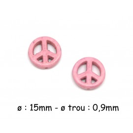5 perles Peace and love 15mm imitation Howlite rose pâle