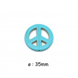 """perle Peace and love 35mm imitation turquoise """"Howlite"""" bleu turquoise"""