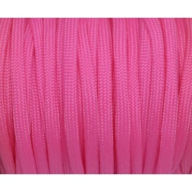 Paracorde rose vif cordon nylon tressé 4,5mm x 2mm - 7 fils - corde nylon gainé
