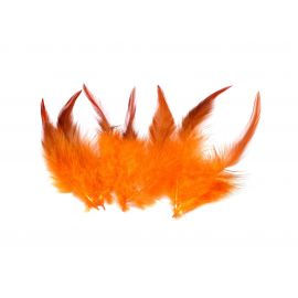7 plumes teinte orange approximativement 13-18 cm