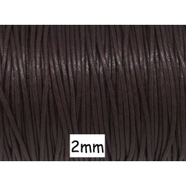 Cordon coton ciré marron brun, chocolat noir 2mm