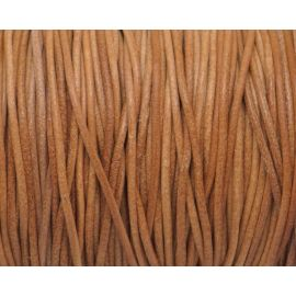 Cordon cuir rond marron naturel, camel rustique 2mm
