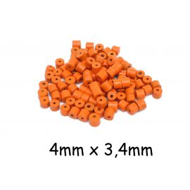 200 Perles tube en bois orange 4mm