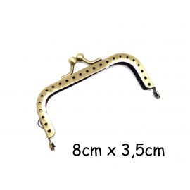 Fermoir sac, porte monnaie, lunette clasp en métal de couleur bronze 8cm - forme rectangle