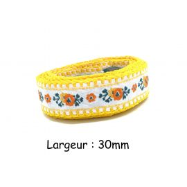 1m ruban galon motif fleur orange, blanc, vert et jaune largeur 30mm