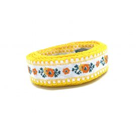 Large Galon motif fleur orange, blanc, vert et jaune largeur 30mm