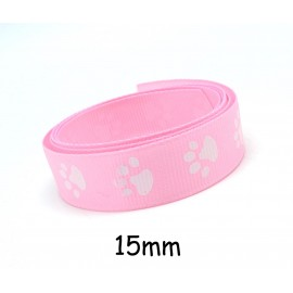 1m Ruban Galon plat 15mm empreinte patte de chat blanche sur fond rose pâle