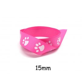 1m Ruban Galon rose vif 15mm empreinte patte de chat blanche