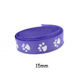 1m Galon fantaisie violet lavande15mm empreinte patte de chat blanche