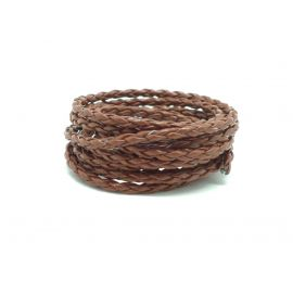 Cordon rond tressé 3mm en simili cuir marron