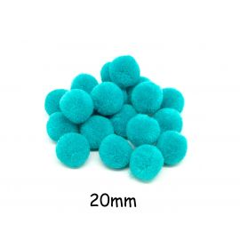 20 pompons rond vert turquoise 2cm pour customisation, couture