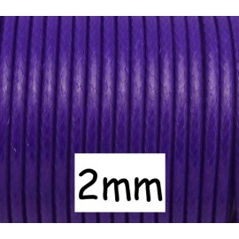 5m Cordon polyester enduit 2mm souple imitation cuir violet brillant