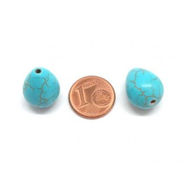 "Perle goutte imitation turquoise ""Howlite"" bleu turquoise 16mm"