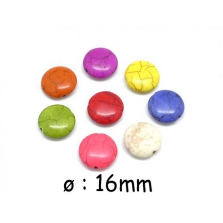 """Perle pastille 16mm imitation turquoise """"Howlite"""" 8 couleurs assorties"""