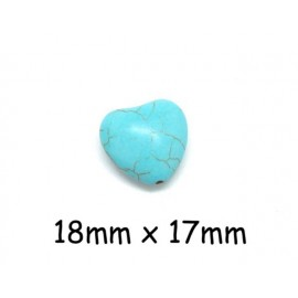 Perle coeur bleu turquoise 18mm