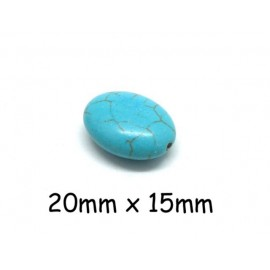 """8 perles ovale galet imitation turquoise """"Howlite"""" bleu turquoise 20mm x 15mm"""