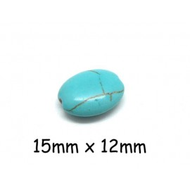 """10 perles ovale galet imitation turquoise """"Howlite"""" bleu turquoise 15mm x 12mm"""