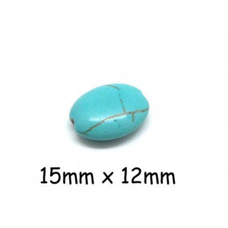 "Perle ovale galet imitation turquoise ""Howlite"" bleu turquoise 15mm x 12mm"