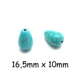 """10 perles goutte imitation turquoise """"Howlite"""" bleu turquoise 16,5mm x 10mm"""