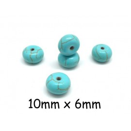 "perle rondelle imitation turquoise ""Howlite"" bleu turquoise 10mm x 6mm"