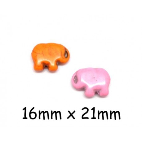 "Perle éléphant imitation ""Howlite"" orange et rose pâle brillant 16mm x 21mm"