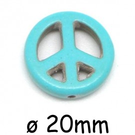 "Perle Peace and Love 20mm synthétique imitation turquoise ""Howlite"" couleur turquoise"