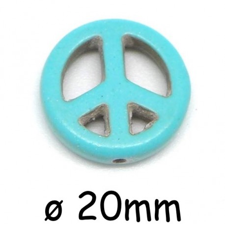 """Perle Peace and Love 20mm synthétique imitation turquoise """"Howlite"""" couleur turquoise"""