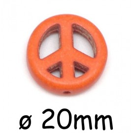 "Perle Peace and Love 20mm synthétique imitation turquoise""Howlite"" orange"