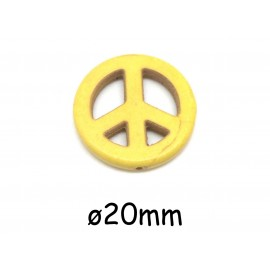 "Perle Peace and love 20mm en pierre imitation turquoise ""Howlite"" jaune"