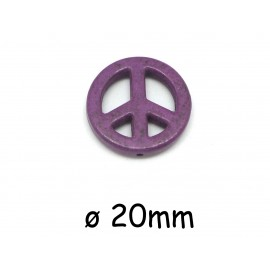"Perle Peace and love 20mm en pierre imitation ""Howlite"" violet"